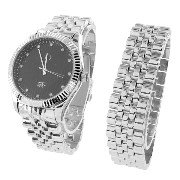 Mens Jojo Jojino Watch Black Dial Fluted Bezel Matching Bracelet Jubilee Band
