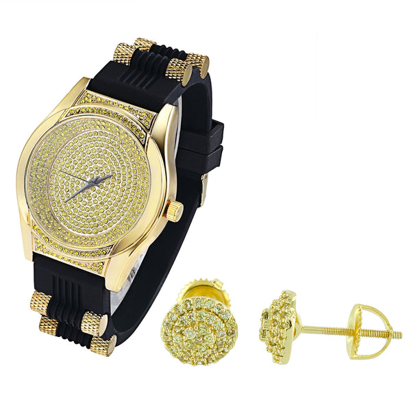 Men's Oval Shape Canary Iced Out Watch with Silicone Bullet Band & Earrings Combo Set