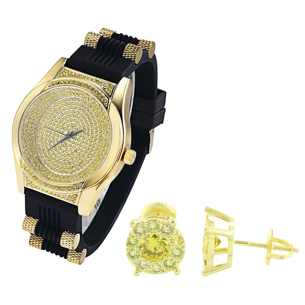 Oval Shape Iced Out Canary Watch with Silicone Bullet Band & Earrings Combo Set