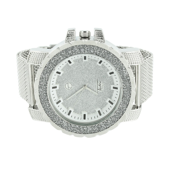 White Techno Pave Mesh Band Watch