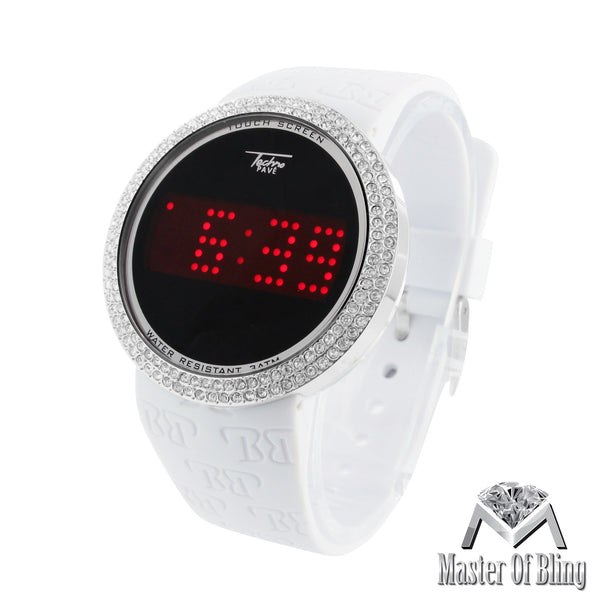 White Silicone Band Touch Screen White Finish Lab Diamond Techno Pave Watch