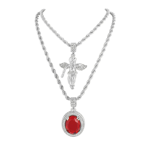 Mens Ruby Angel Pendants Set Free Rope Chain White Gold Finish