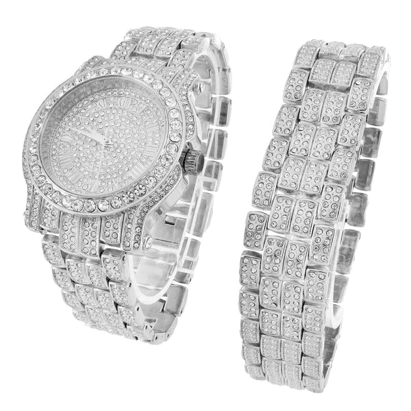 Custom Watch Bracelet Set Iced Out Simulated Diamond Analog 45 MM Jojo Look