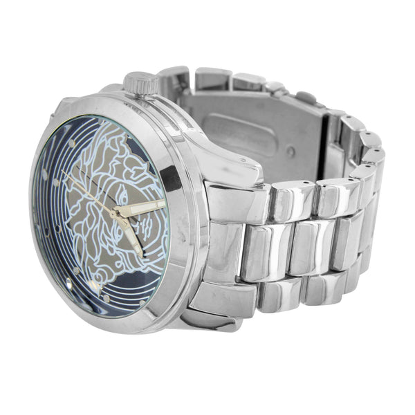 Black Dial Medusa Watch White Gold Finish Water Resistant