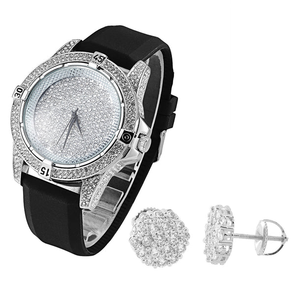 Men's Iced Out Techno Pave White Gold Tone Watch Silicone Strap & Earrings Combo