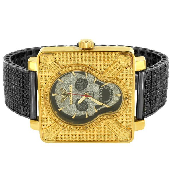 Designer Skull Face Men's Watch With Fully Iced Out Black lab Diamonds Tray Band