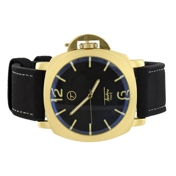 Gold Finish Techno Pave Watch Black Dial Analog Leather Strap