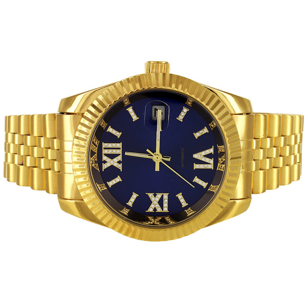 Gold Tone Stainless Steel Royal Blue Roman Dial Automatic Watch