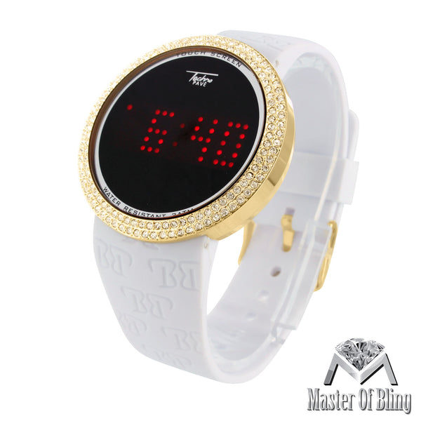 Touch Screen Techno Pave Black Rose White Yellow Silicone Band Watch