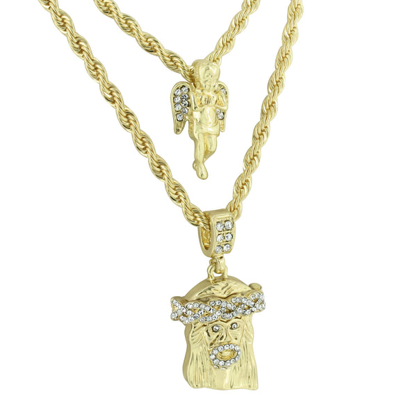 Jesus & Angel Pendant Combo Set With Free Necklaces Chain Gold Tone Lab Diamonds