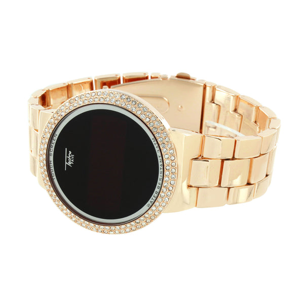 Rose Gold Finish Watch Touch Screen Smart Watch Metal Band