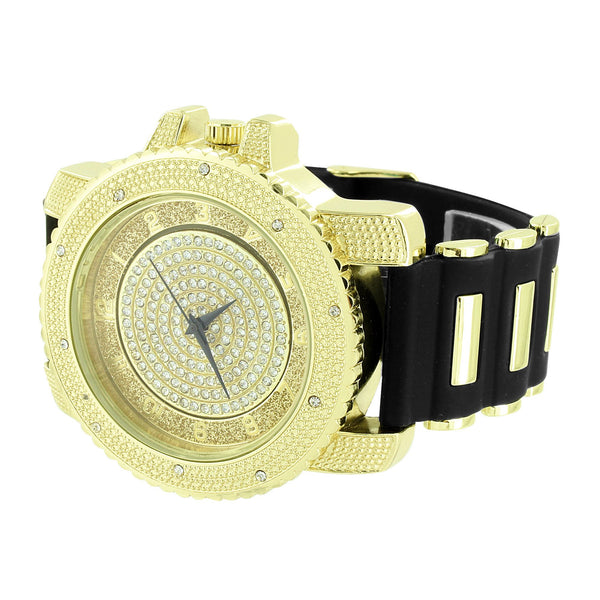 Gold Tone Dial Watch Bullet Band