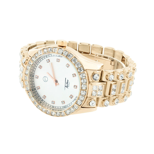 Mens Watch White Dial Rose Gold Finish Simulated Diamonds Round Cut New