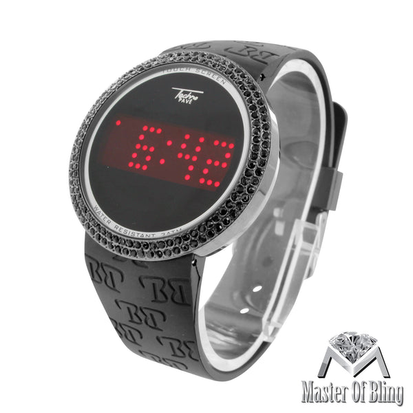 All Black Touch Screen Simulated Diamonds Techno Pave Watch