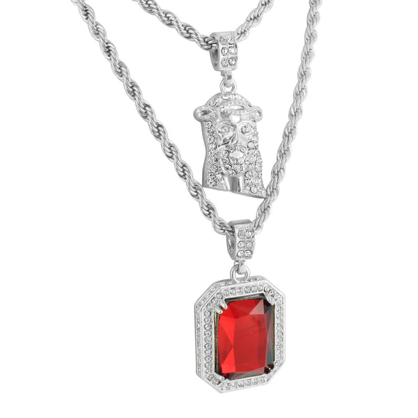 Jesus And Ruby Pendant 14K White Gold Finish Free Rope Chain