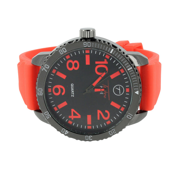 Red Rubber Band Watch Tachymeter Look Black Finish Analog