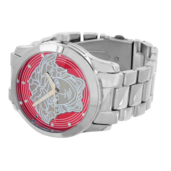 Medusa Watches Red Dial White Finish Water Resistant