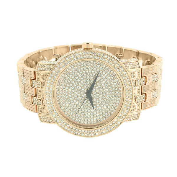 14K Rose Gold Finish Techno Pave Iced Out Watch