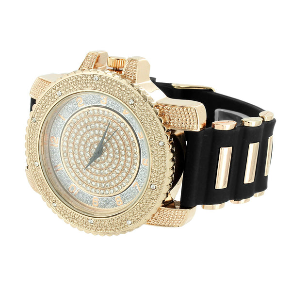 Rose Face Number Dial Watch Bullet Band