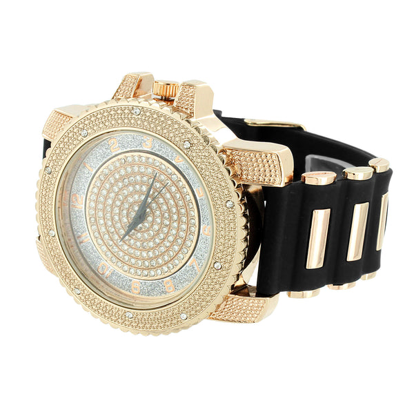 Rose Face Number Dial Watch Bullet Band Iced Out