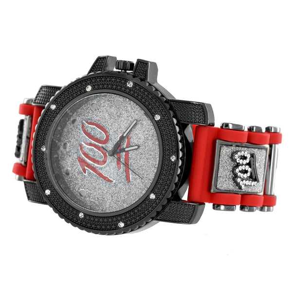 Hundred Emoji Watch Illusion Dial Black Finish Red Bullet Band