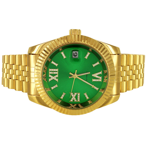 Stainless Steel Green Roman Icy Dial Fluted Bezel Automatic Watch