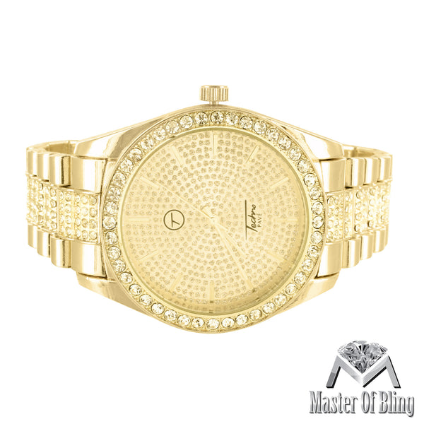 Techno Pave Gold Tone Lab Diamonds Watch Matching Bracelet Set