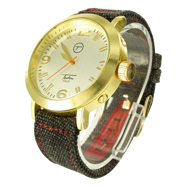 Techno Pave Jeans Cloth Band Gold Tone Mens Wristwatch