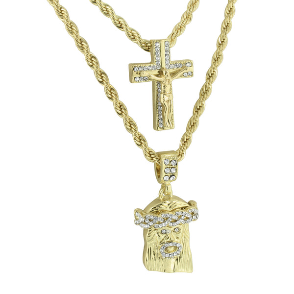 Cross Jesus Crucifix Pendant Rope Necklace Lab Diamond Charm Set