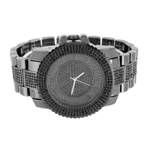 All Black Mens Watch FREE Bracelet Set Black Lab Diamond Icy Water Resist