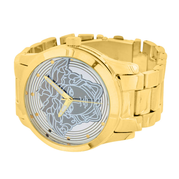 Gold Finish Watch Medusa Face Dial Metal Band