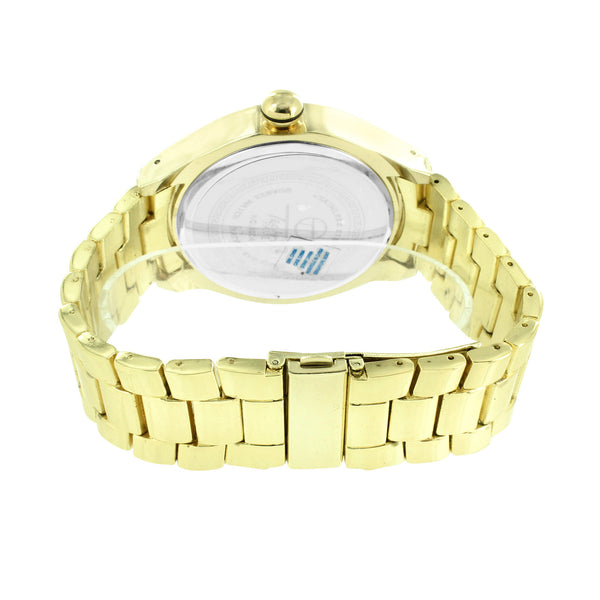 Mens Gold Finish Watch Simulated Diamonds Blue Illusion Dial Joe Rodeo Jojino