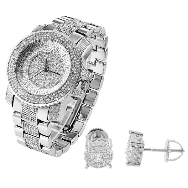 Fully  White Gold Tone Men's Techno Pave Watch & Solitaire Earrings Combo