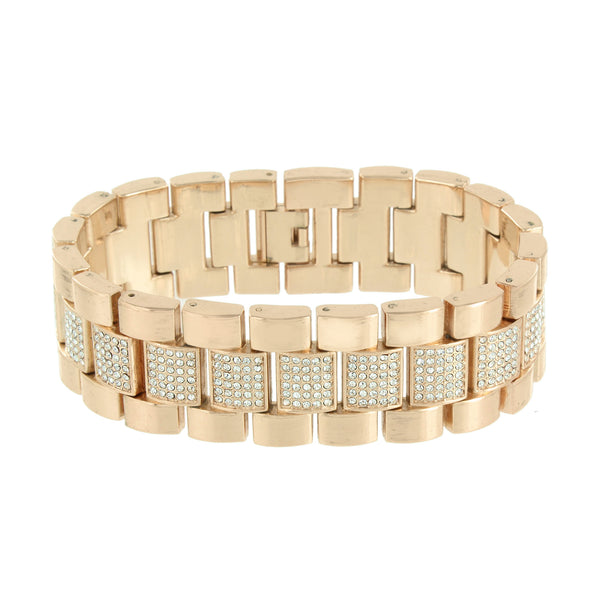 Rose Gold Tone Watch Mens Iced Out Simulated Diamond Hip Hop Bracelet Gift Set