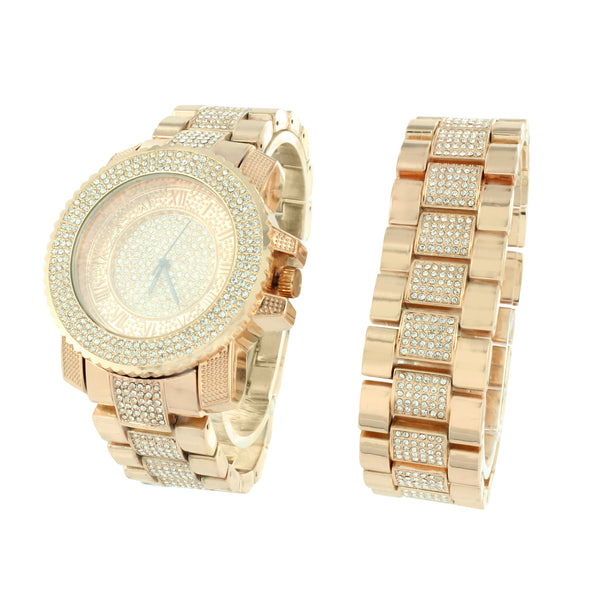 Rose Gold Tone Watch Mens Bling Simulated Diamond Hip Hop Bracelet Gift Set