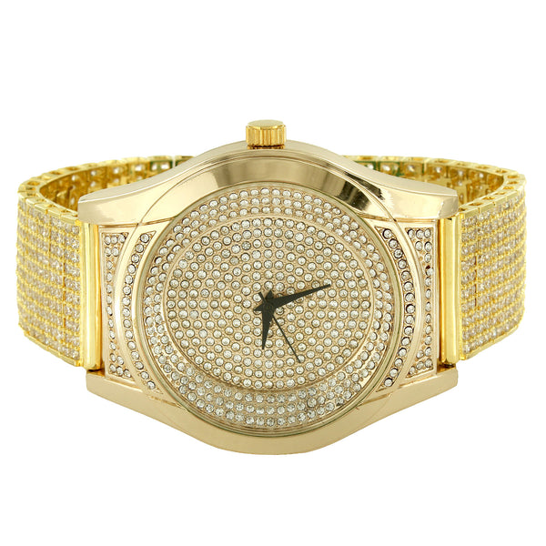 Designer 14k Gold Finish Iced Out Men's Watch with Custom Iced Out Band