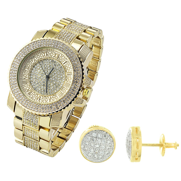 14K Gold Finish Men's Fully Iced Out Techno Pave Watch & Matching Earrings Combo
