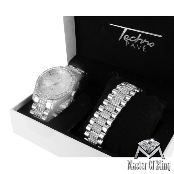 Lab Diamond Techno Pave White Finish Presidential Style Watch With Bracelet Set