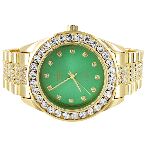 Men's Solitaire Gold Finish Green Face Presidential Look Watch
