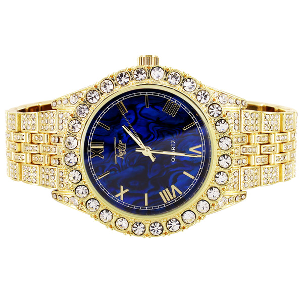 Gold Tone Solitaire Bezel Royal Blue Roman Dial Mens Watch
