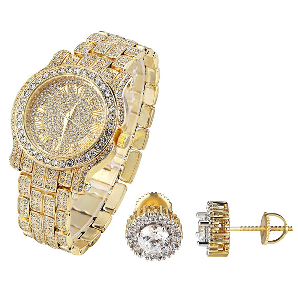 Men's Yellow Gold Finish Hip Hop Iced Out Techno Pave Watch & Solitaire Earrings Combo