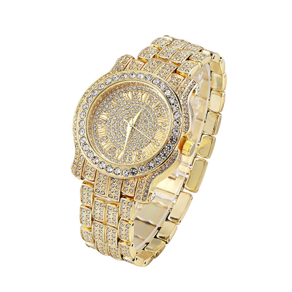 Watch Mens Fully Bling Lab Diamond Gold Finish Analog