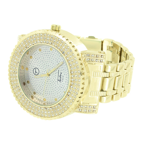 Silver Tone Dial Mens Watch Iced Techno Pave