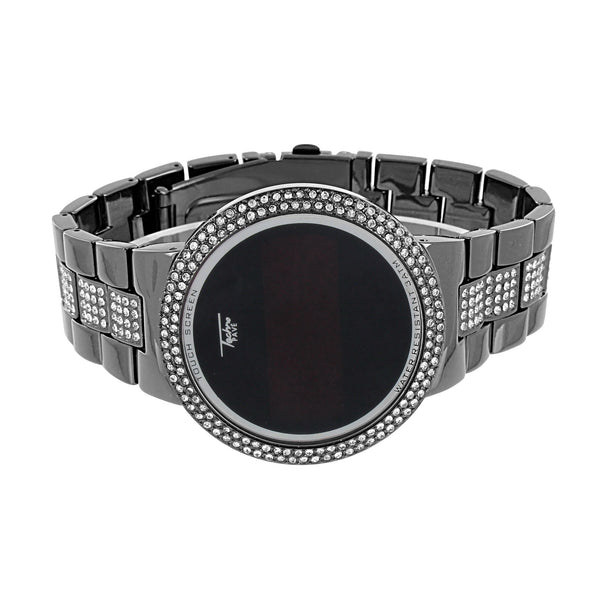 Touch Screen Black Watch Simulated Diamonds Iced Out Unique Metal Band