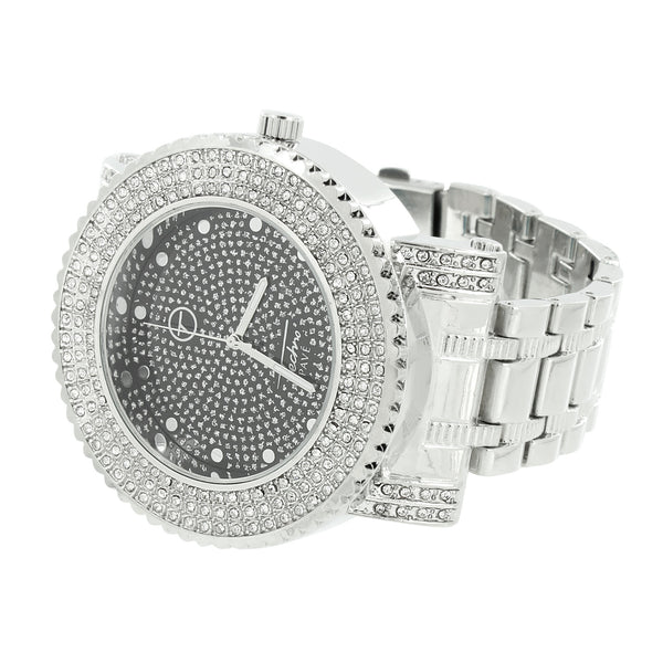 Black / Silver Tone Dial Mens Watch Iced Techno Pave