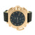 Rose Gold Finish Watch Techno Pave Quartz Black Leather Band