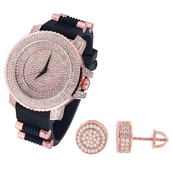 Men's Rose Gold Finish Iced Out Dial Watch Silicone Strap & Matching Earrings Combo