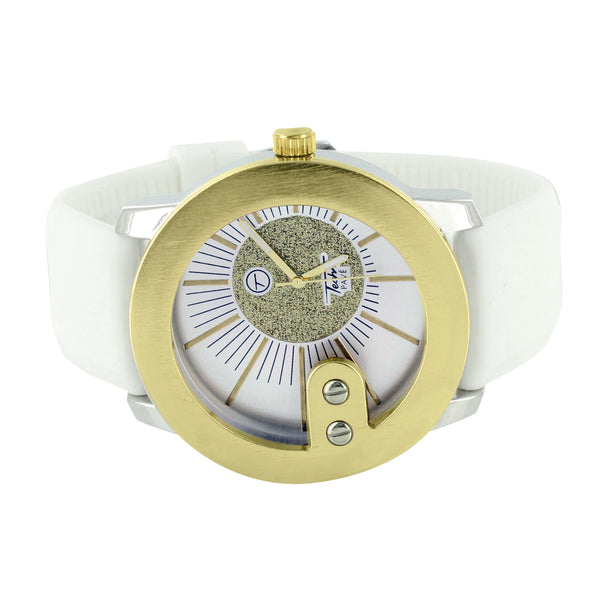 Yellow Gold Finish Watch White Rubber Band Strap