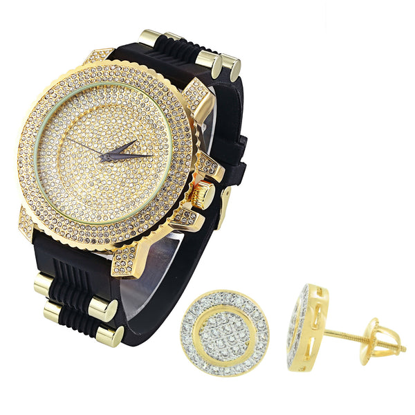 Men's Hip Hop Iced Out Dial Gold Finish Dial Watch Silicone Strap & Matching Earrings Combo