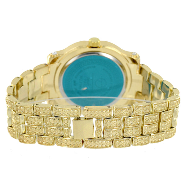 Watch Mens Fully Iced Out Lab Diamond Gold Finish Analog